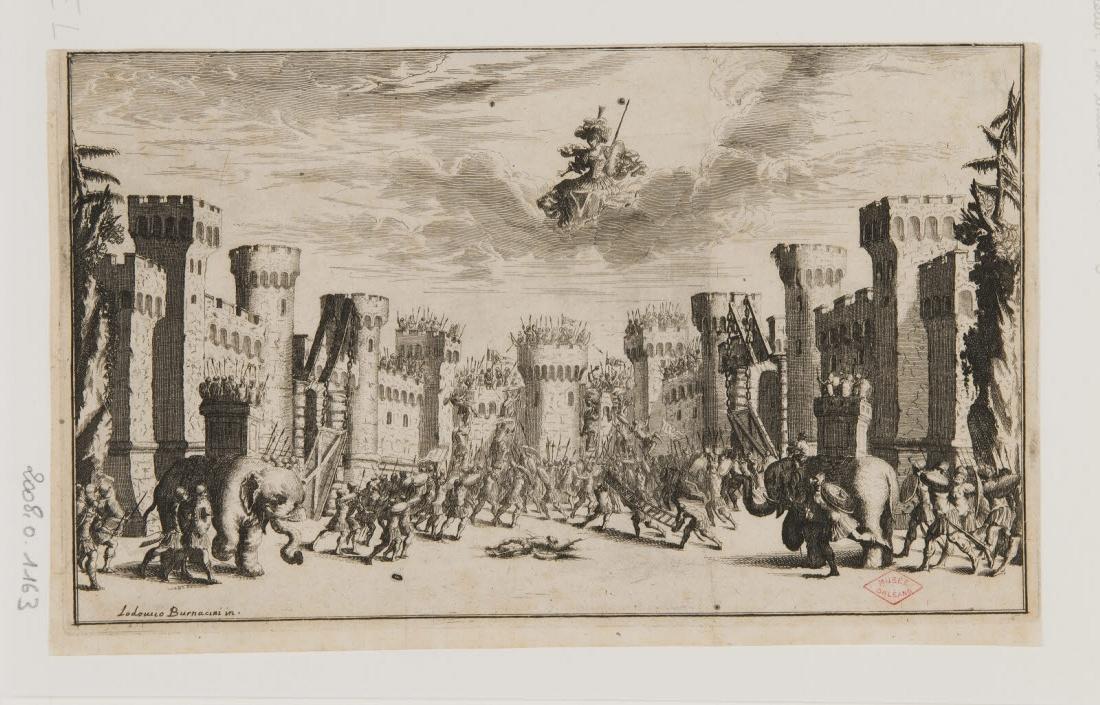BURNACINI Ludovico (inventeur), KUSEL Mattias (graveur) : Représentation théâtrale avec une ville prise d'assaut