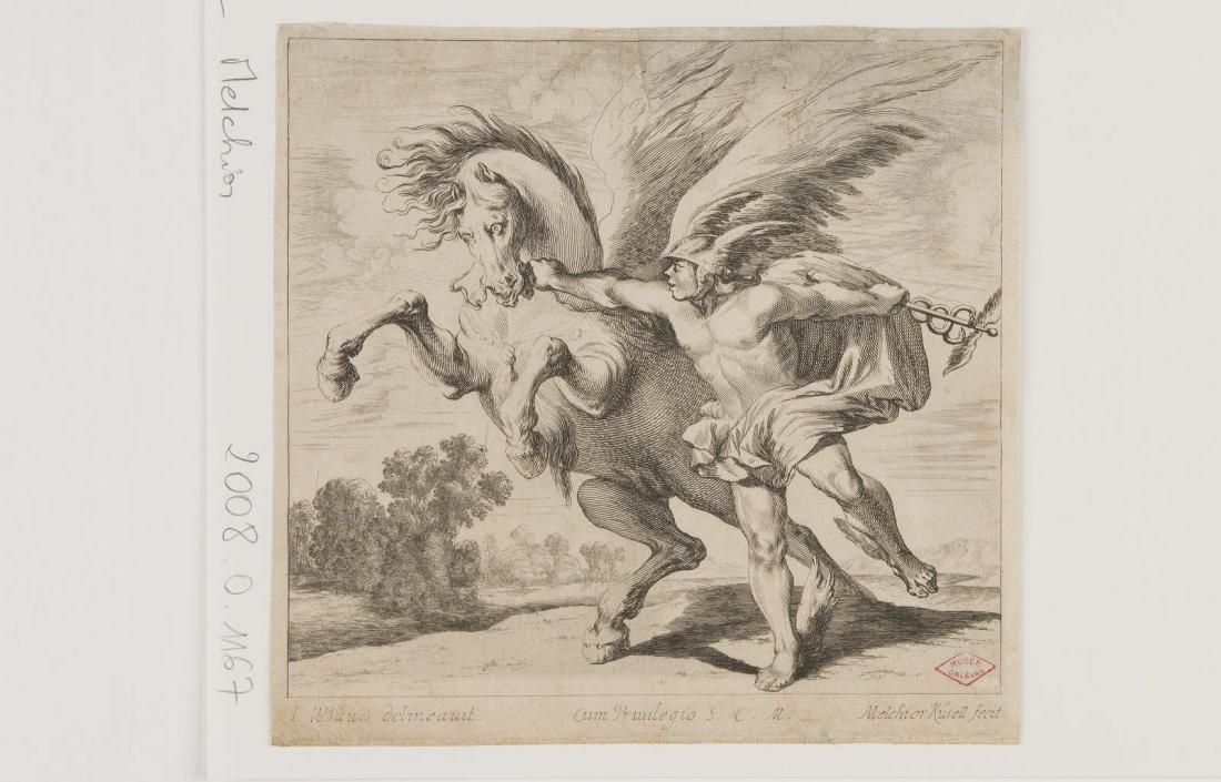 BAUE I W (dessinateur), KUSSEL Melchior (graveur) : Mercure et  Pégase