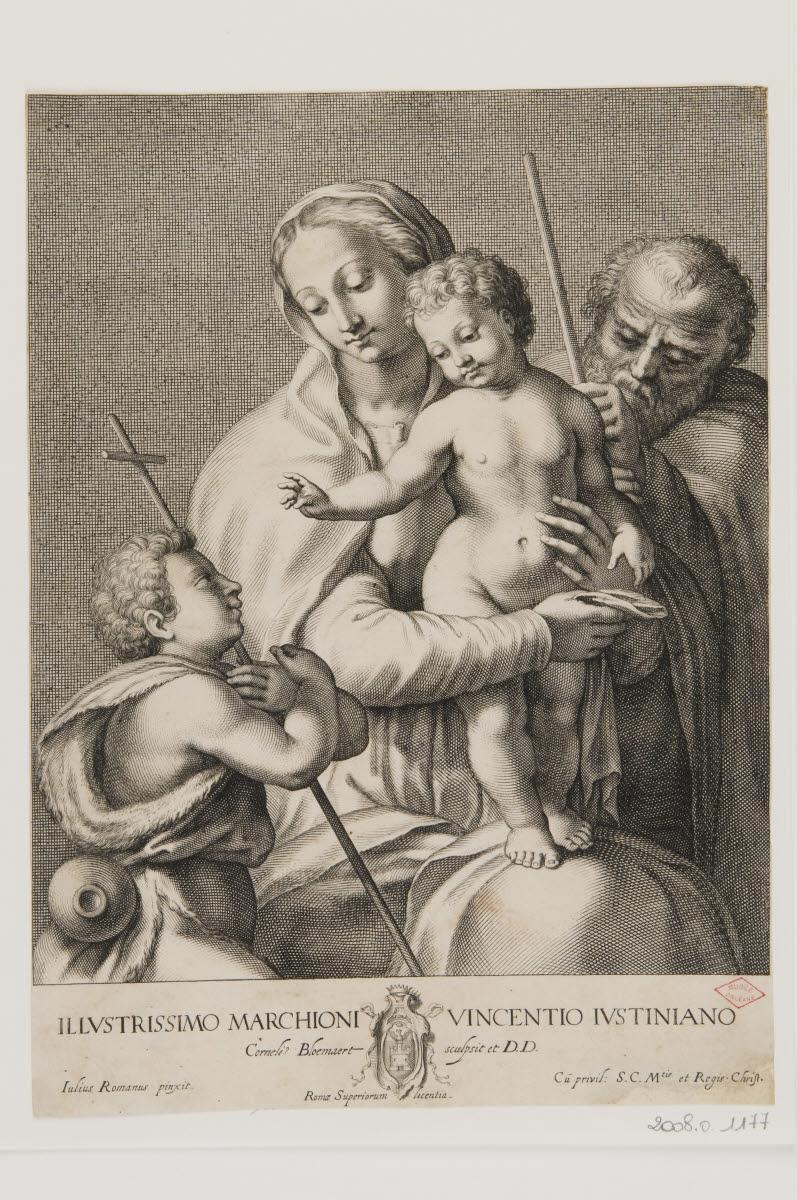 BLOEMAERT Cornelis II (graveur), PIPPI Giulio (inventeur, d'après) : La Sainte Famille avec saint Jean-Baptiste