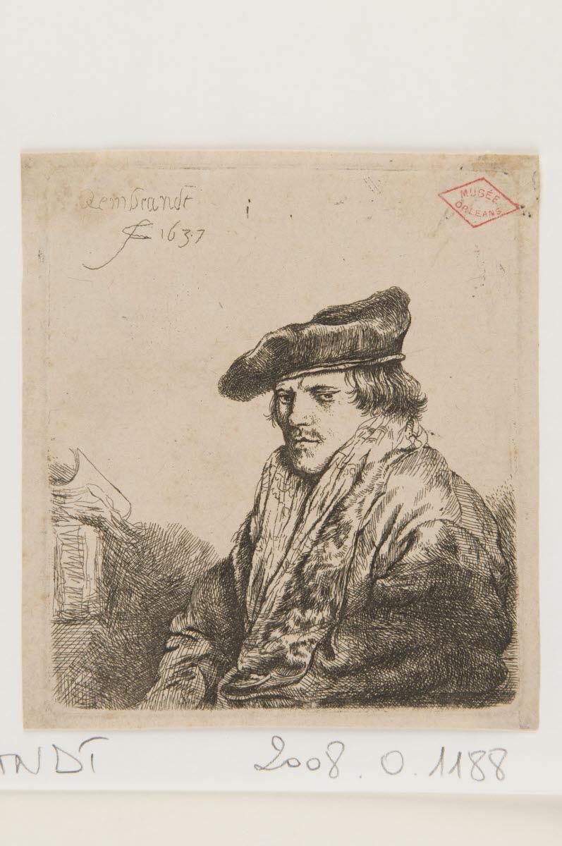 REMBRANDT (dit), REMBRANDT Harmensz van Rijn (graveur, inventeur) : Jeune homme assis et réfléchissant