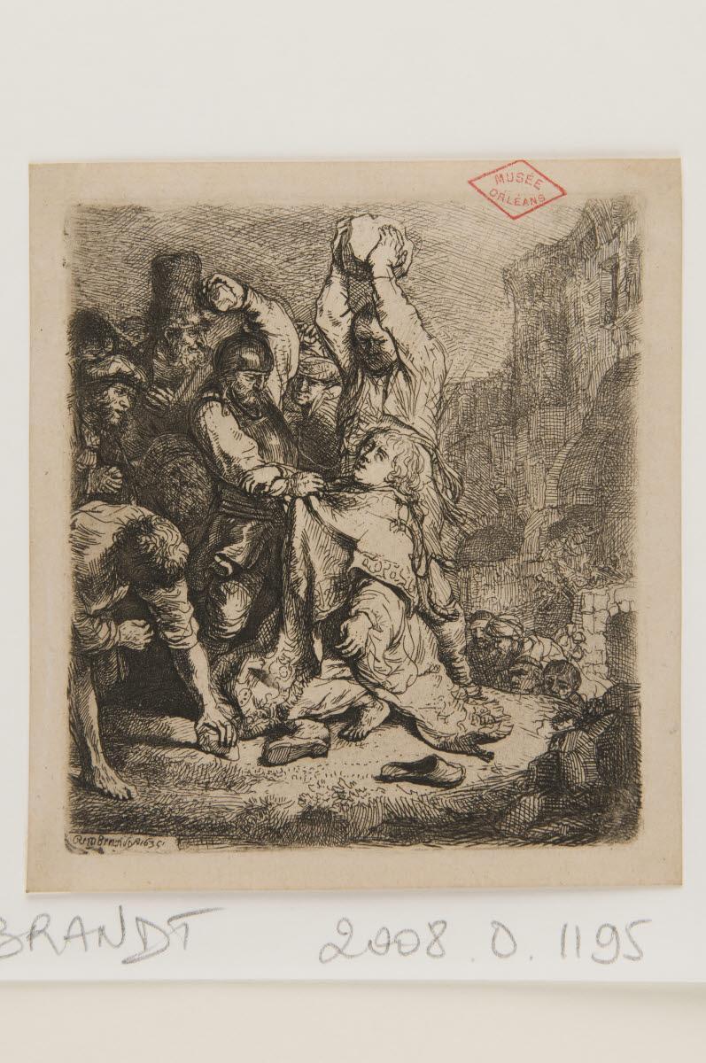 REMBRANDT (dit), REMBRANDT Harmensz van Rijn (graveur; inventeur) : Martyre de saint Etienne