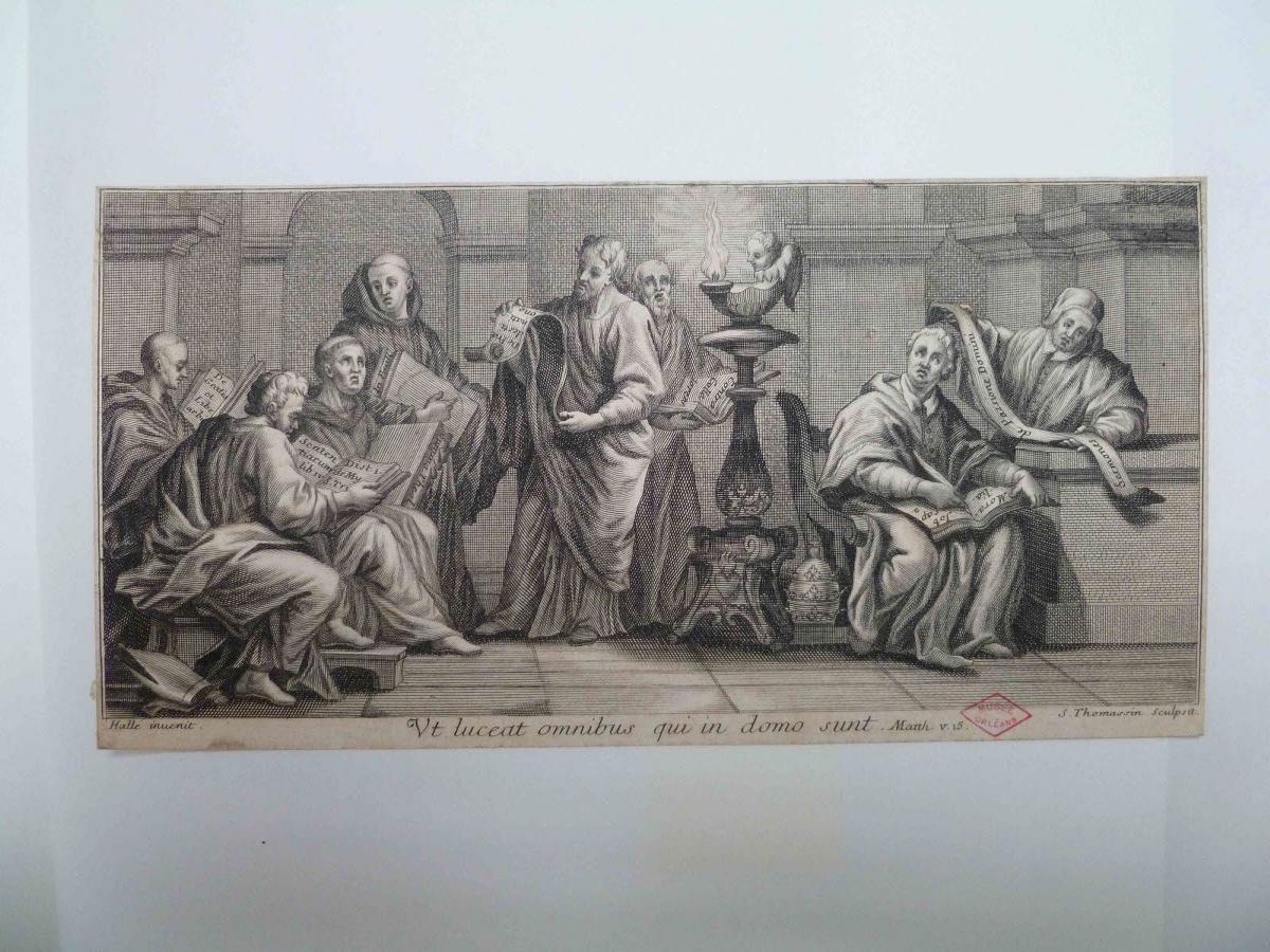 HALLE Claude Guy (inventeur), THOMASSIN Simon (graveur) : Réunion de lettrés chrétiens