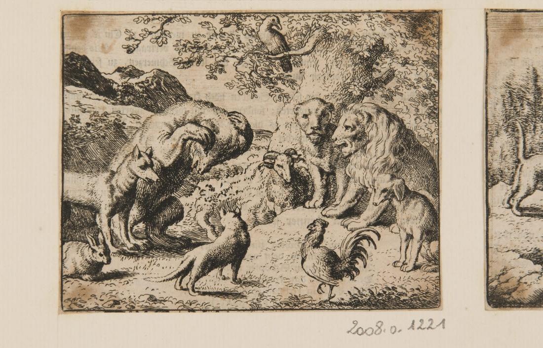 L'ours en présence du lion, se plaint du tour que le renard lui a joué._0