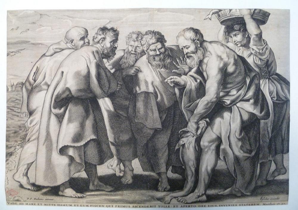 RUBENS Peter Paul (inventeur, d'après), VISSCHER Cornelis (graveur, éditeur) : La pêche pour payer le tribut