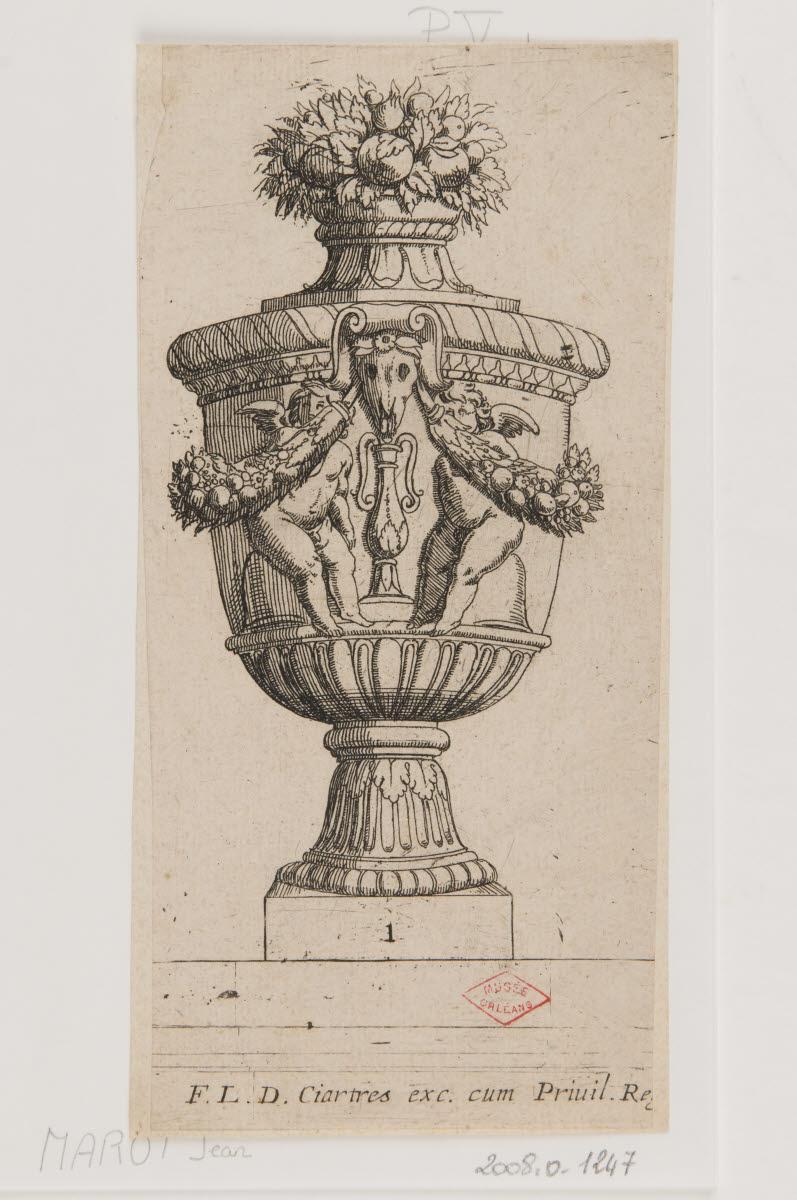 MAROT Jean (graveur) : Vase aux deux putti