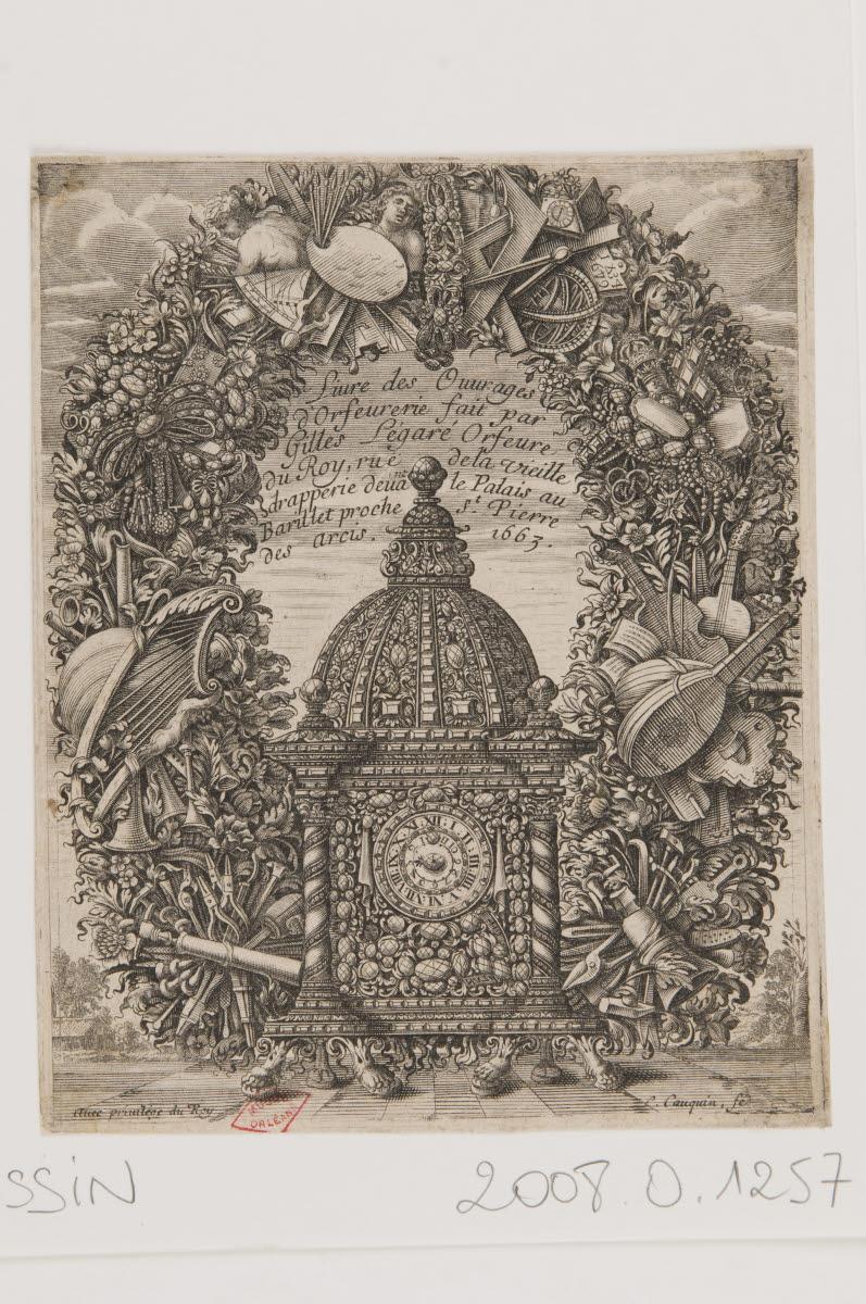 COQUIN Louis (graveur), L'EGARE Gilles (éditeur) : Frontispice du Livre des ouvrages d'orfèvrerie fait par Gilles Légaré orfèvre du roi