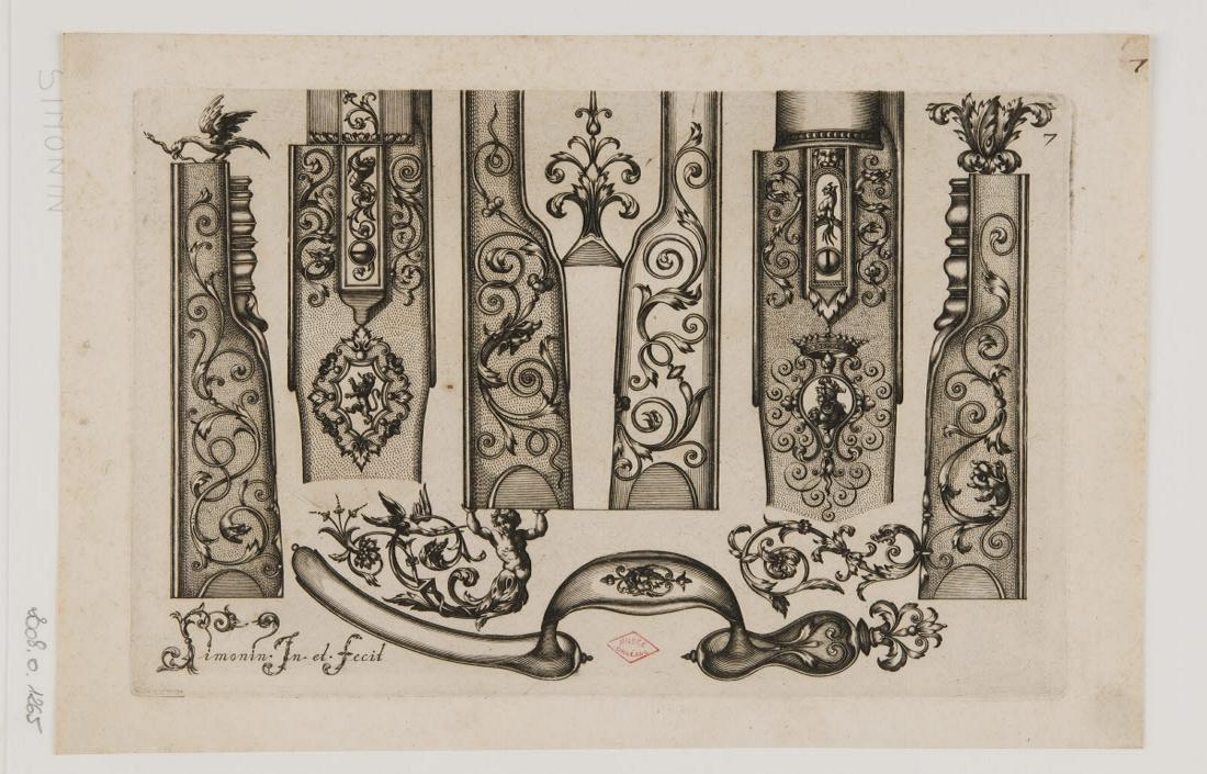 Planche d'ornements d'arquebuses avec un aigle tuant un serpent_0