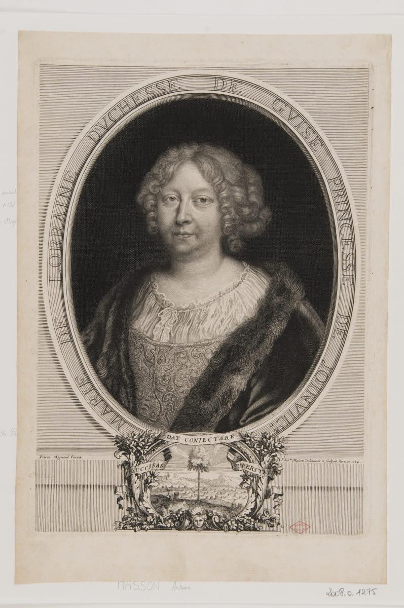 MASSON Antoine (dessinateur, graveur), MIGNARD Pierre (inventeur, d'après) : Marie de Lorraine duchesse de Guise