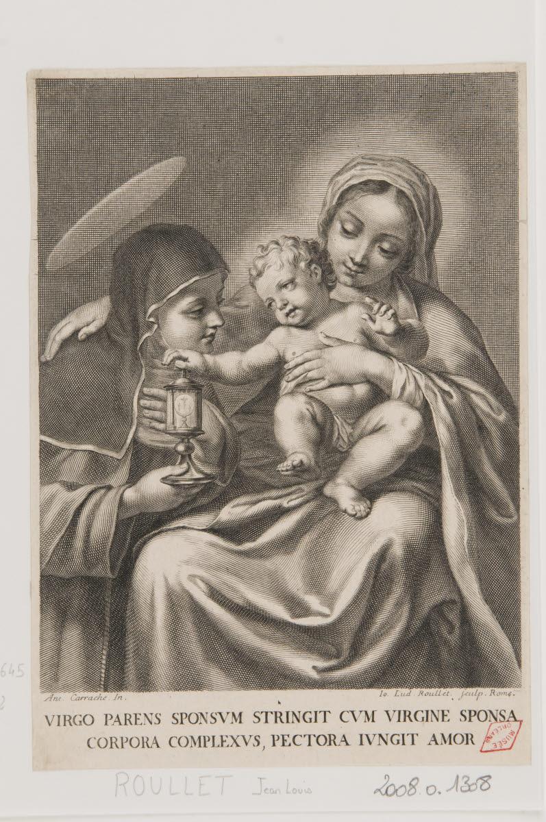 CARRACCI Annibale (inventeur, d'après), ROULLET Jean-Louis (graveur) : La Vierge au ciboire