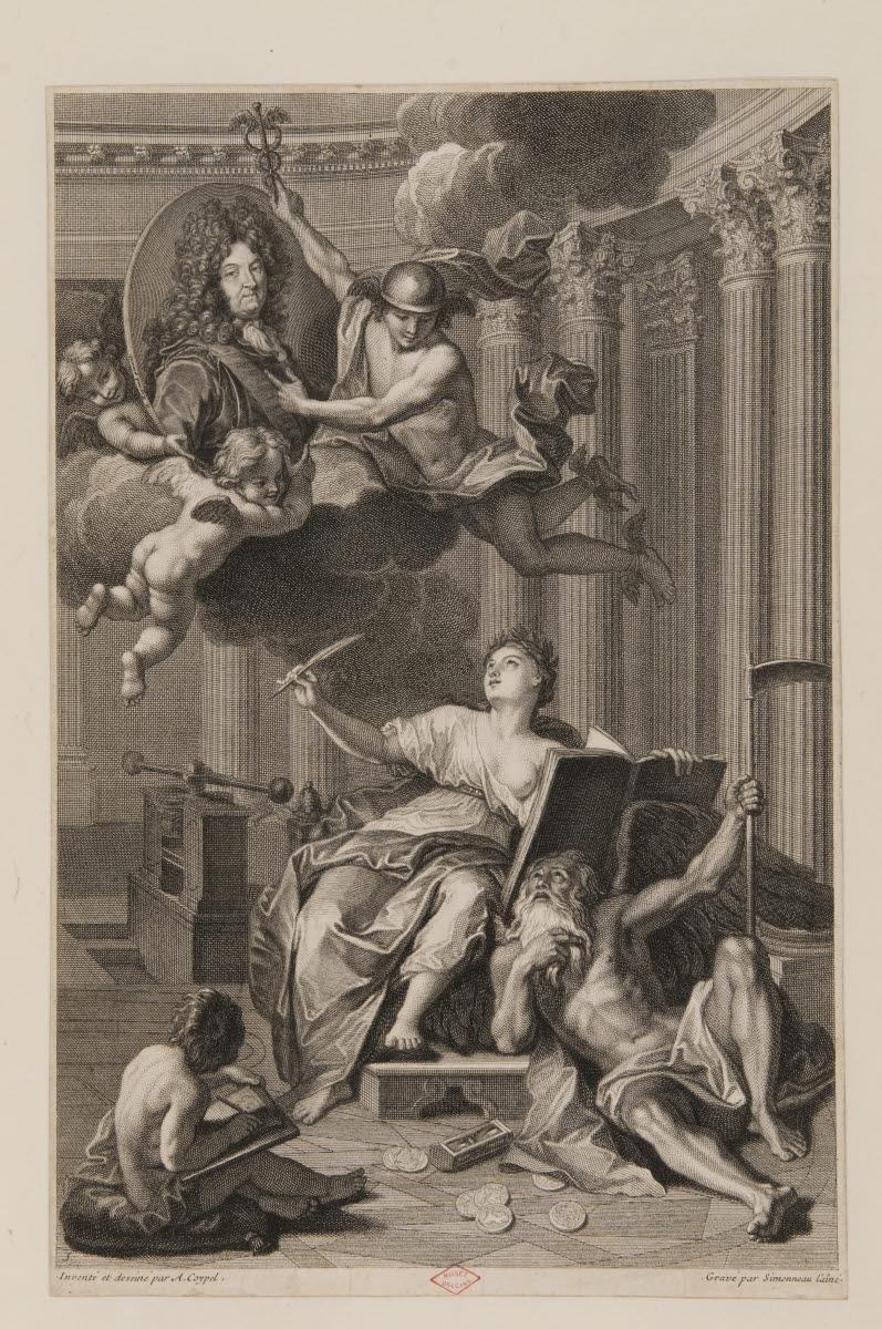 COYPEL Antoine (dessinateur, ?, inventeur, d'après), RIGAUD Hyacinthe (?, inventeur, d'après), IMPRIMERIE ROYALE (éditeur, imprimeur), SIMONNEAU Charles Louis (graveur) : L'Histoire écrivant les événements du règne de Louis XIV