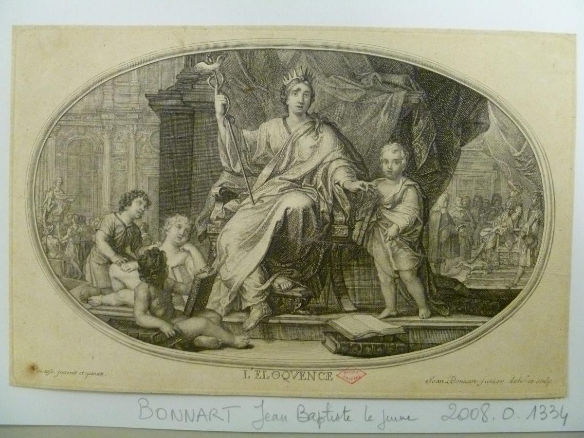 BONNART Jean-Baptiste Henri (dessinateur, graveur), HOUASSE René Antoine (inventeur, d'après) : L'Eloquence