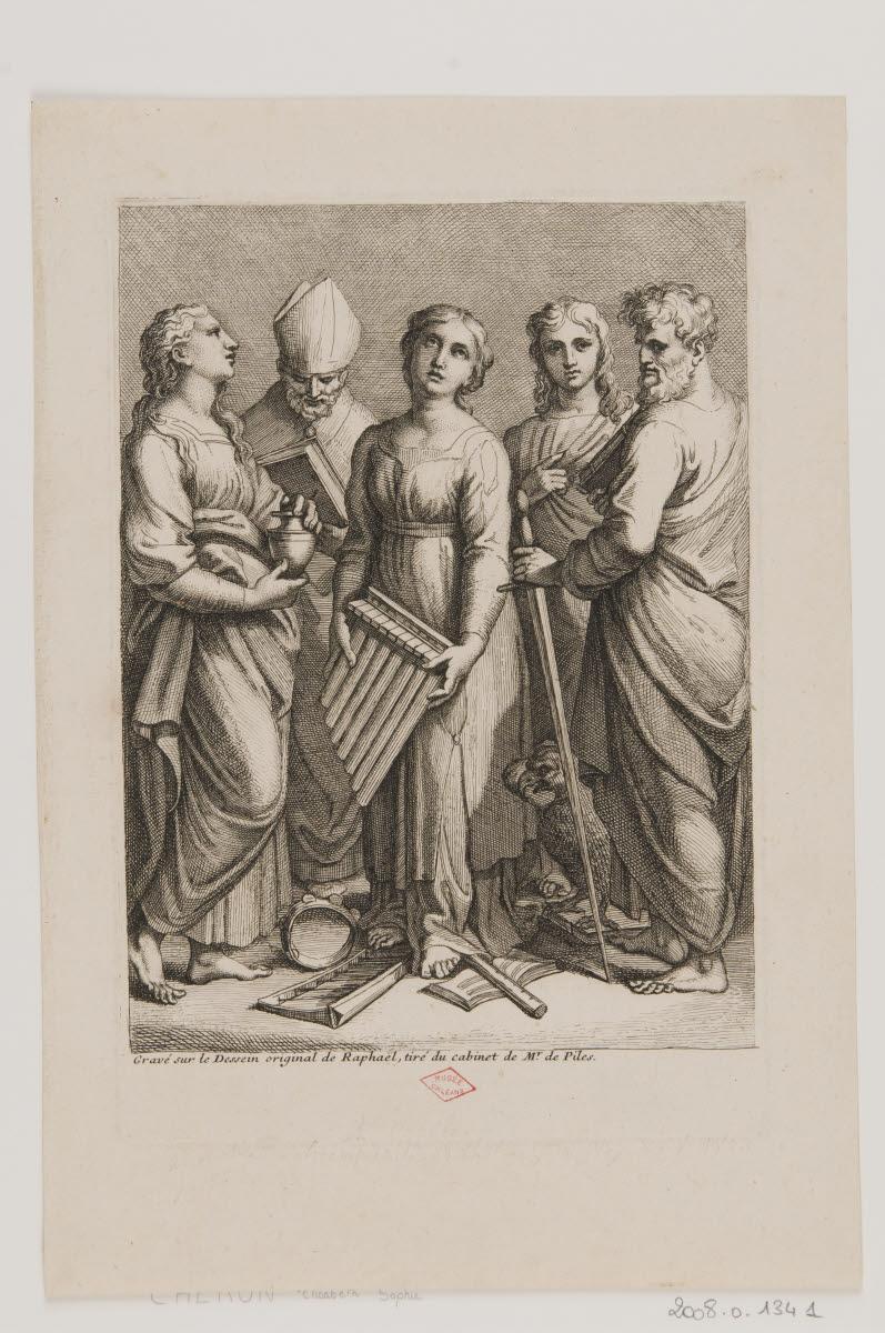 Sainte Cécile, entourée de sainte Marie-Madeleine, saint Jean, saint Paul et saint Augustin_0