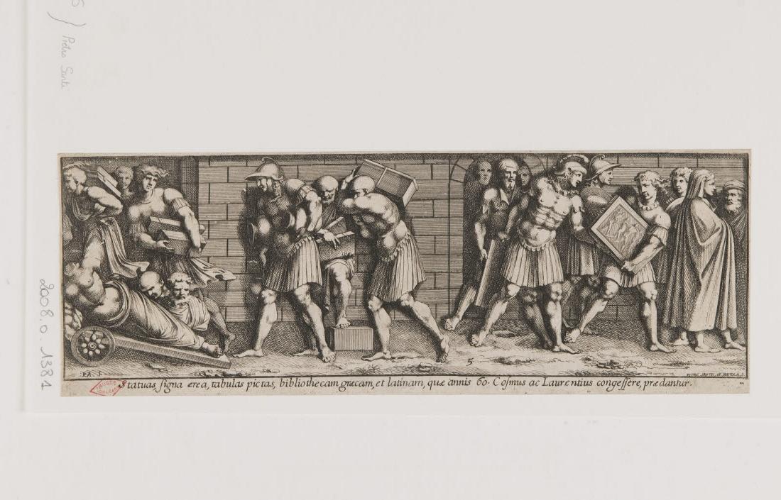 BARTOLI Pietro Santo (graveur), SANZIO Raffaello (inventeur, d'après), RAPHAEL (dit) : Pillage des collections de Cosme et Laurent de Médicis