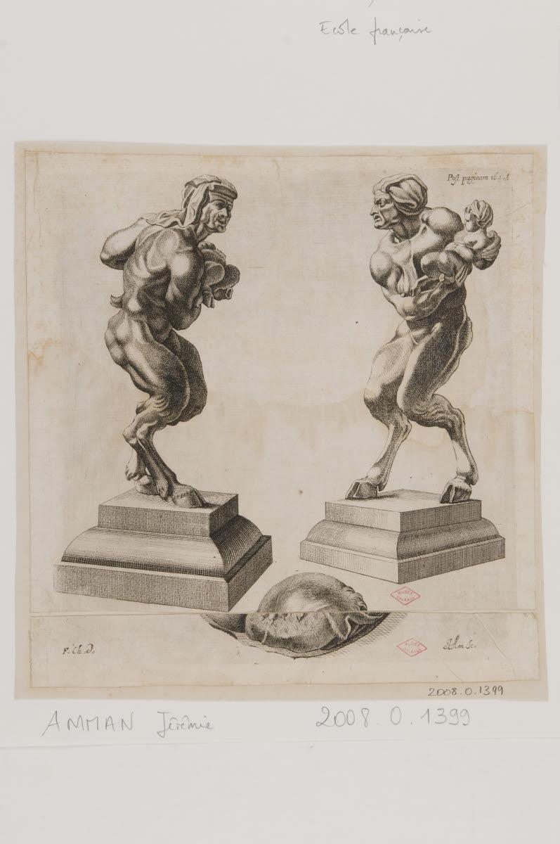 AMMAN Jérémie (graveur), CHAUVEAU François (dessinateur, inventeur) : Deux faunes et leurs enfants