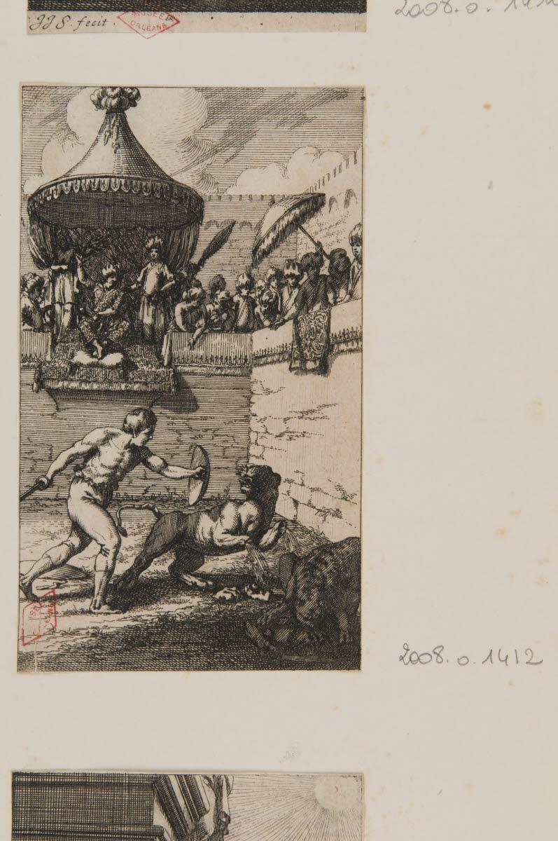 Un homme combattant des fauves dans une arène_0