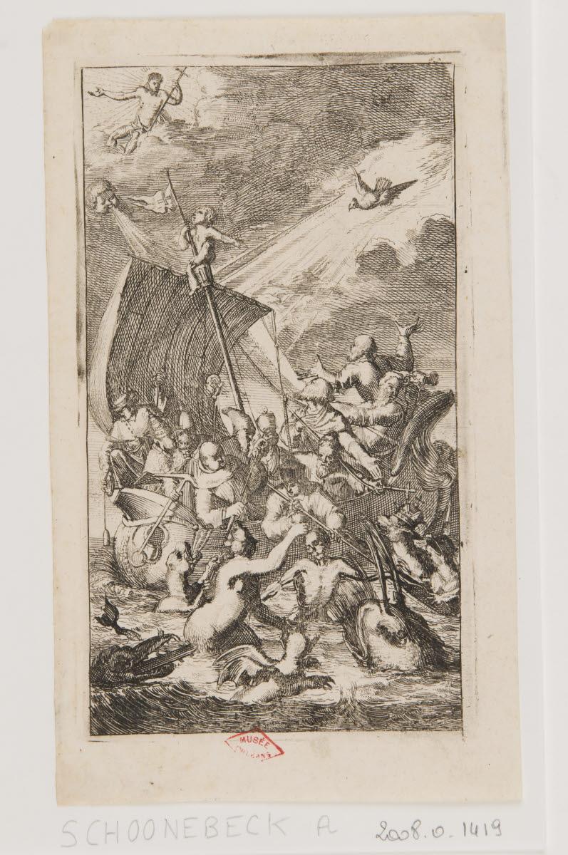 Un bateau menacé par des monstres marins et une tempête_0