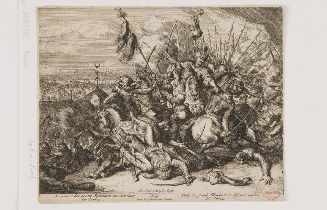 HOOGHE Romeyn de (inventeur, graveur), VISSCHER Claes Jansz (éditeur) : Prise du grand étendard et défaite entière des Turcs