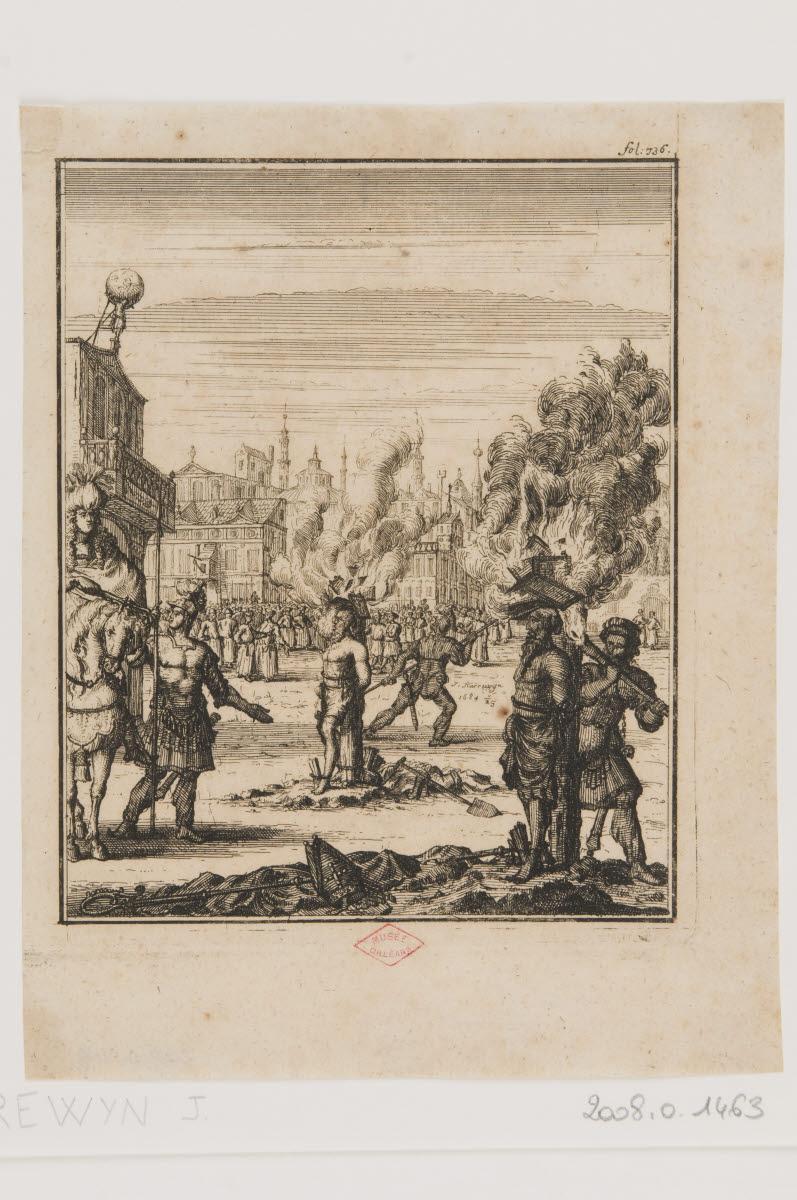 HARREWIJN Jacobus (graveur) : Deux condamnés sur des bûchers entourés par la foule