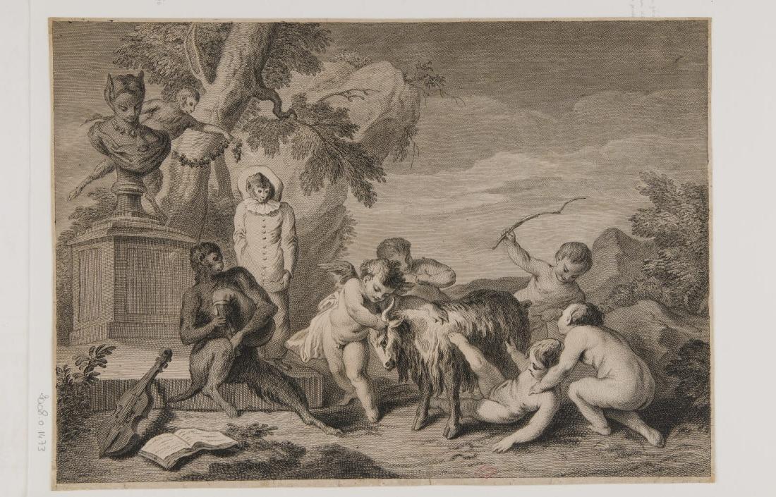 DUPIN Claude (graveur), WATTEAU Jean-Antoine (inventeur) : Enfants à la chèvre