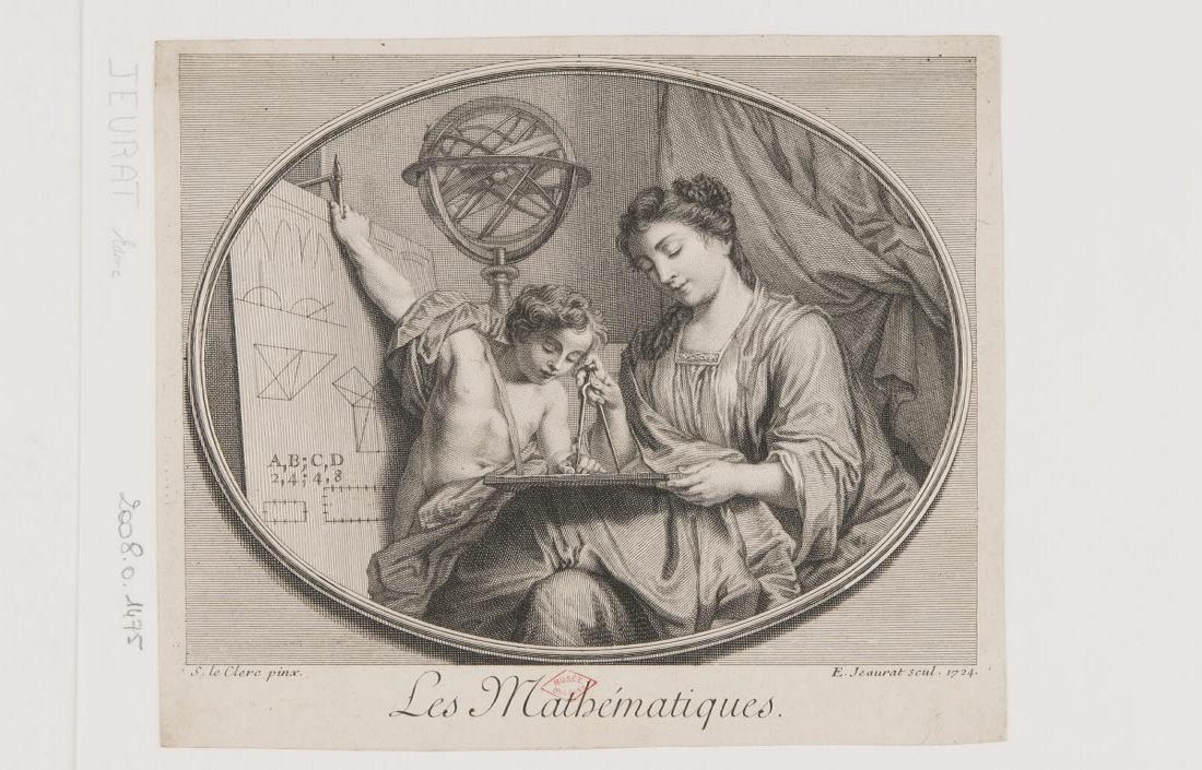 JEAURAT Edme (graveur), LECLERC Sébastien II (inventeur) : Les Mathématiques