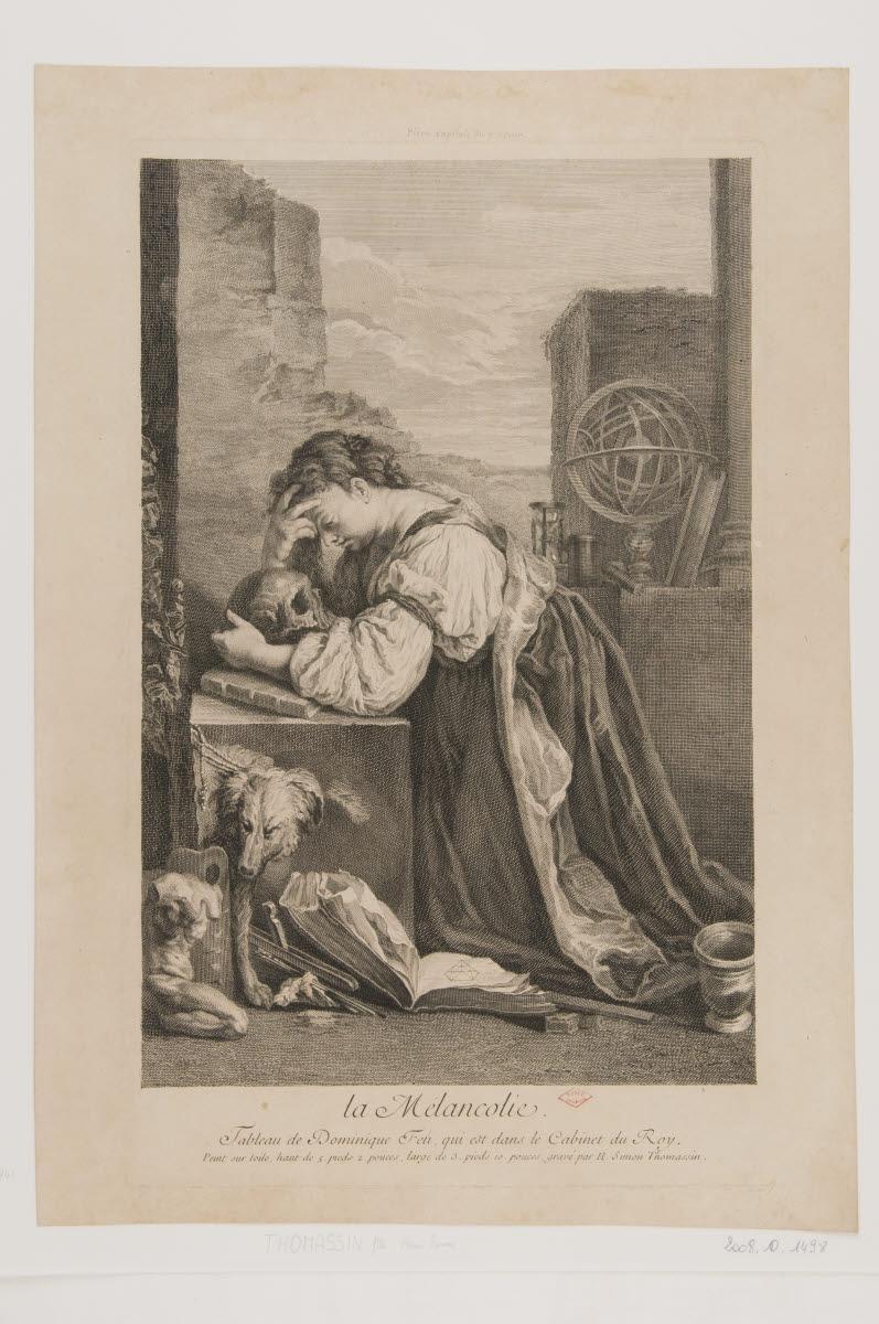 FETI Domenico (inventeur), THOMASSIN Henri Simon le Fils (graveur) : La Mélancolie