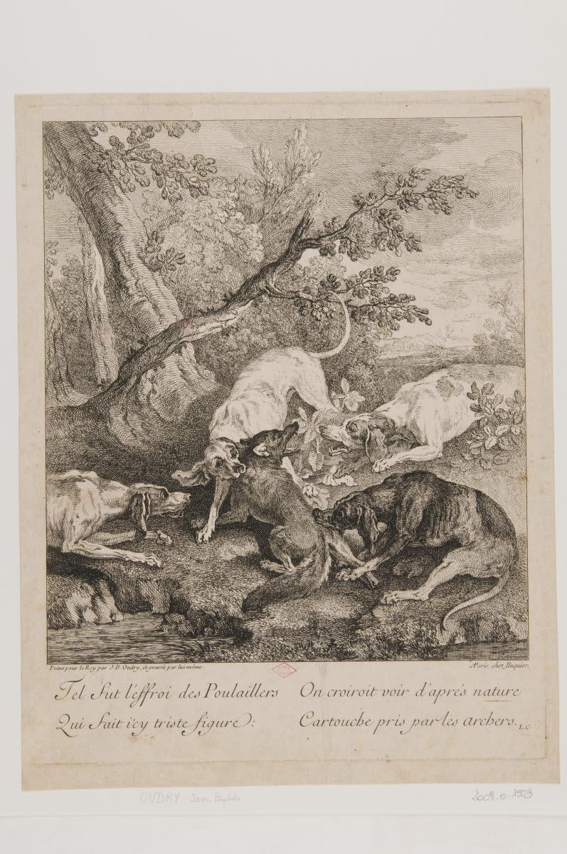HUQUIER (éditeur), OUDRY Jean-Baptiste (graveur, inventeur) : Scène de chasse, quatre chiens attaquant un renard