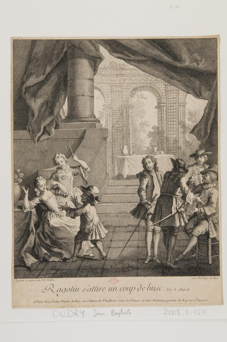 DUCHANGE Gaspard (éditeur), OUDRY Jean-Baptiste (inventeur, graveur, éditeur) : Ragotin s'attire un coup de busc