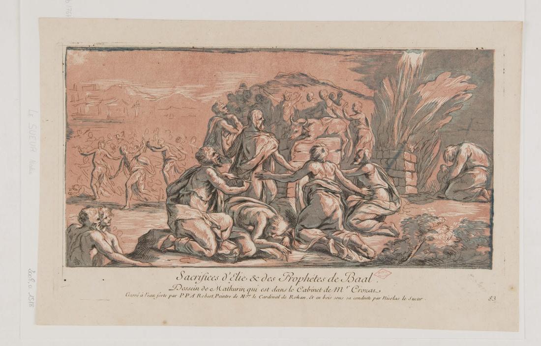 LE SUEUR Nicolas (graveur), MATHURIN (inventeur, d'après) : Sacrifice d'Elie et des prophètes de Baal