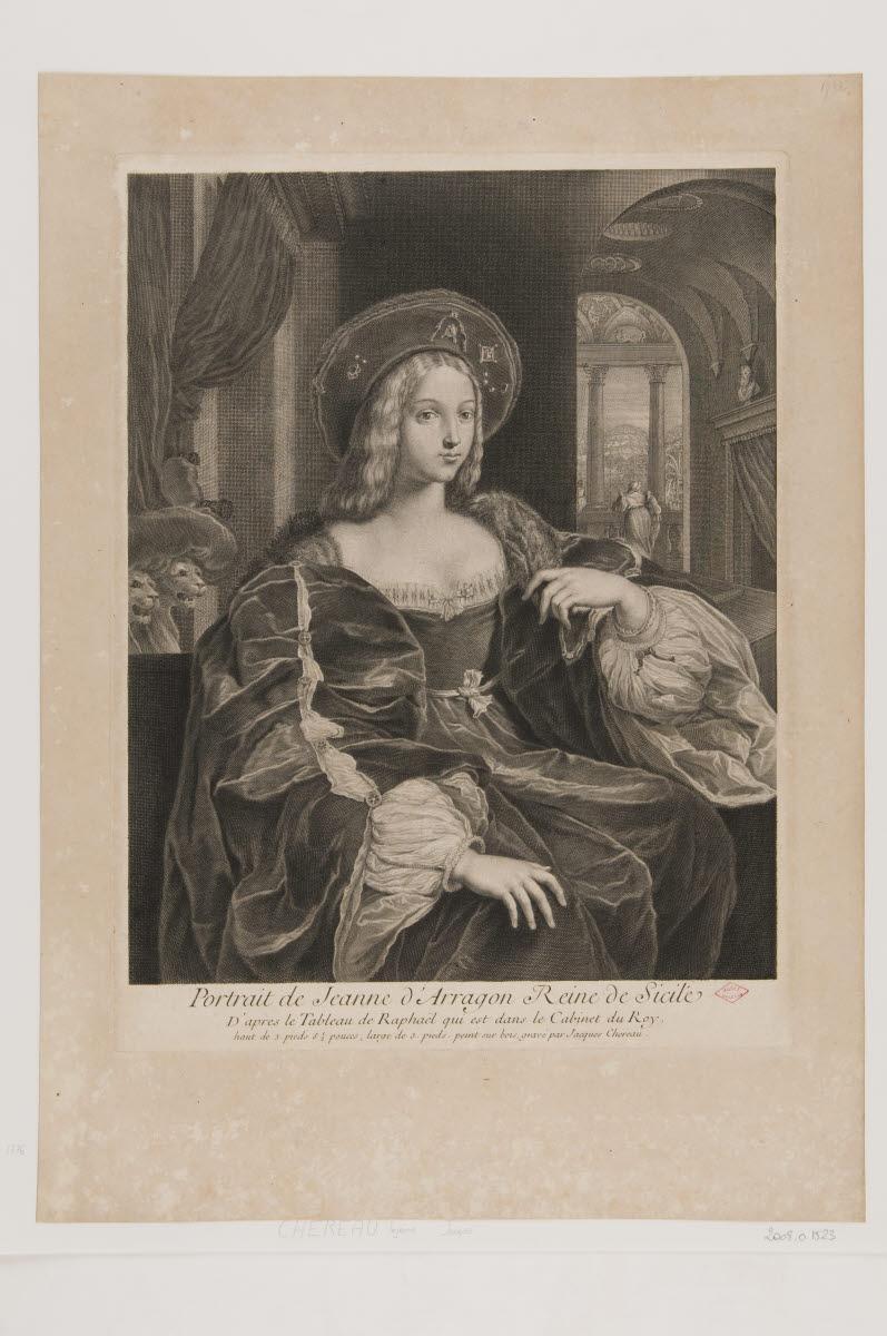 CHEREAU Jacques (graveur), SANZIO Raffaello (inventeur), RAPHAEL (dit) : Jeanne d'Aragon, reine de Sicile