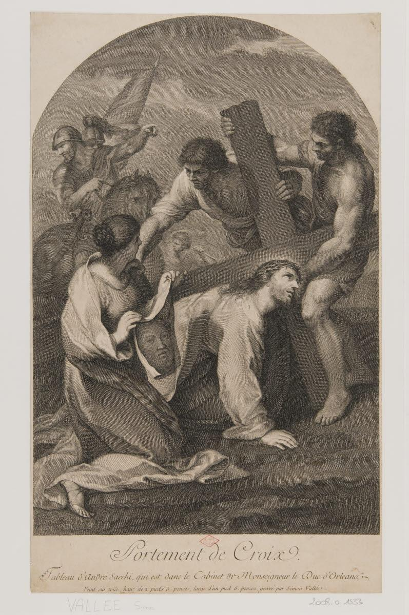 SACCHI Andrea (inventeur, d'après), VALLEE Simon de (graveur) : Portement de croix