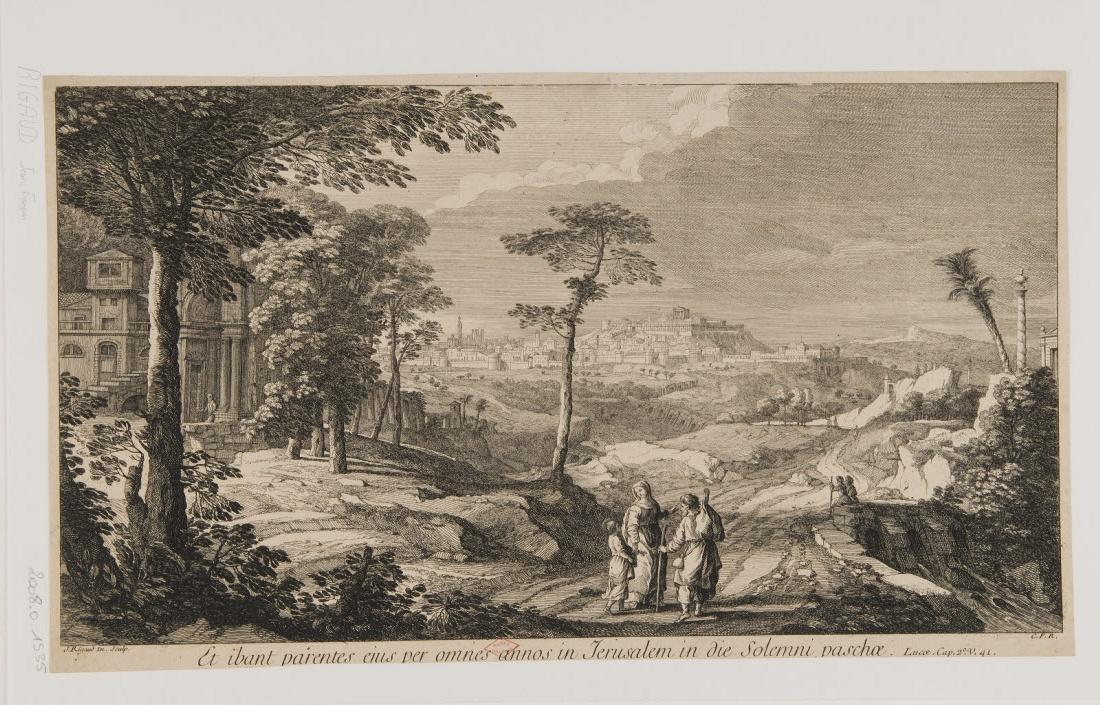 RIGAUD Jean-Baptiste (graveur, inventeur) : La Sainte Famille se rendant à Jérusalem