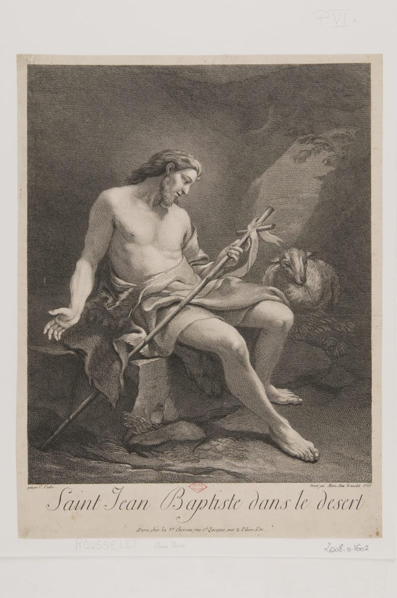 CHEREAU-MATRAT Veuve (éditeur), VAN LOO Carle (dit), VAN LOO Charles André (inventeur, d'après); ROUSSELET Marie-Anne (graveur) : Saint Jean-Baptiste dans le désert
