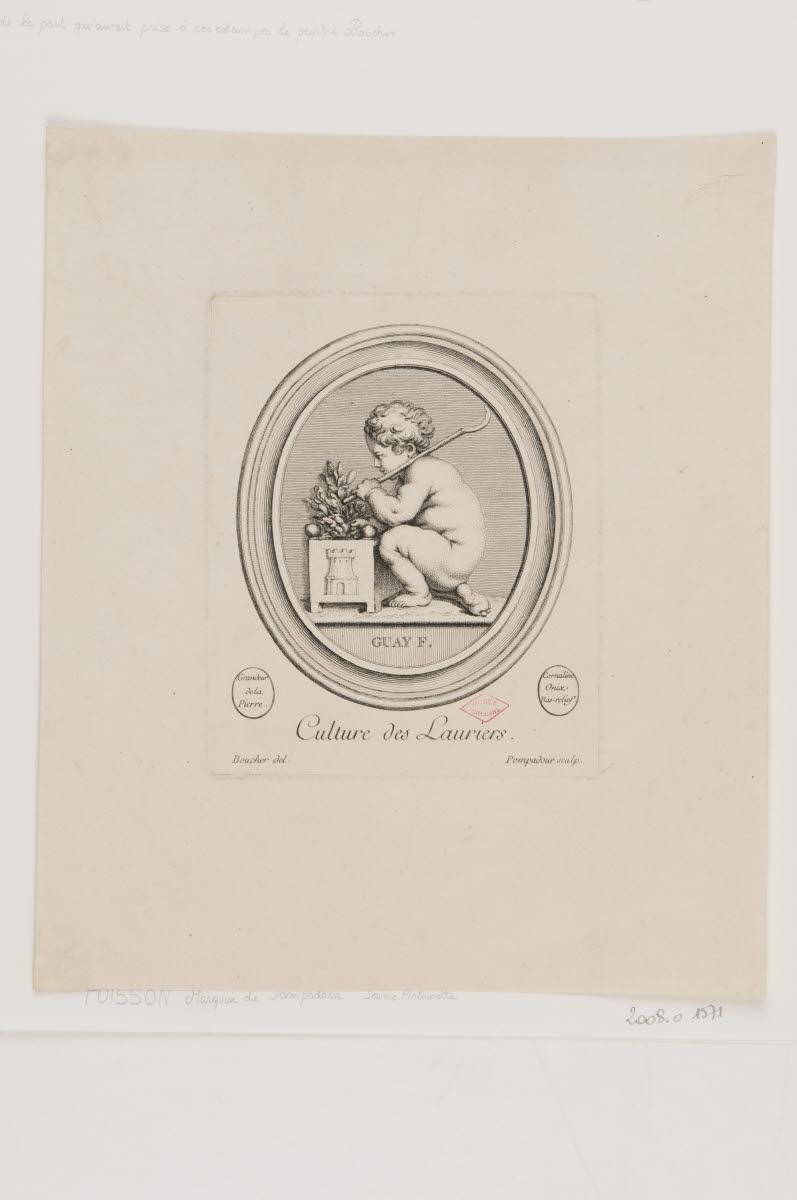 BOUCHER François (dessinateur), GUAY Jacques (inventeur), POMPADOUR marquise de, POISSON Jeanne Antoinette (graveur) POMPADOUR marquise de, POISSON Jeanne Antoinette (graveur) : Culture des lauriers