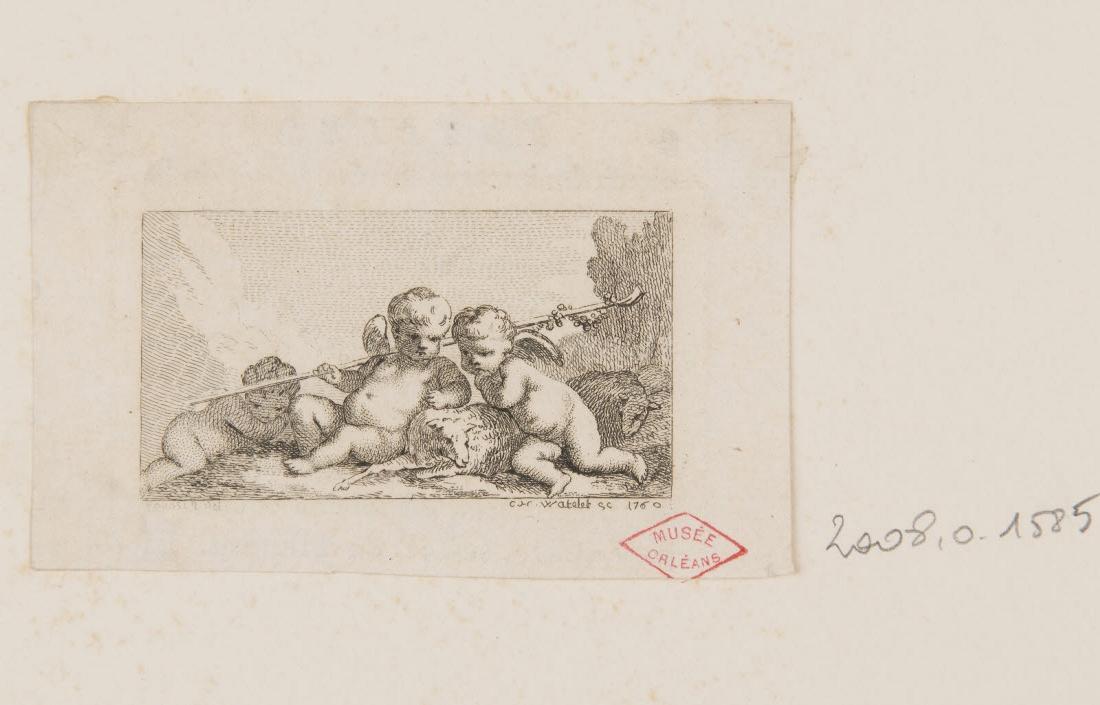 POUSSIN Nicolas (inventeur), WATELET Claude Henri (graveur) : Trois amours bergers