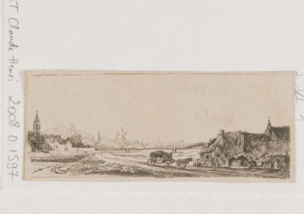 WATELET Claude Henri (graveur) : Paysage avec une charrette  et une maison à droite