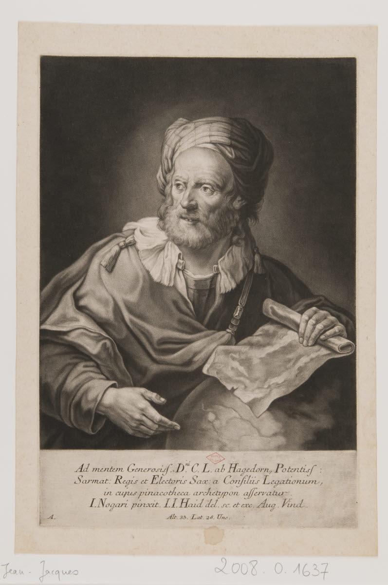 HAID Johann Jakob (éditeur, graveur, dessinateur), NOGARI Giuseppe (inventeur, d'après) : Portrait d'homme (géographe ?)