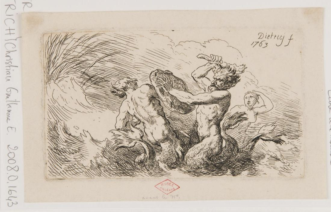 DIETRICH Christian Wilhelm Ernst (graveur) : Combat de tritons