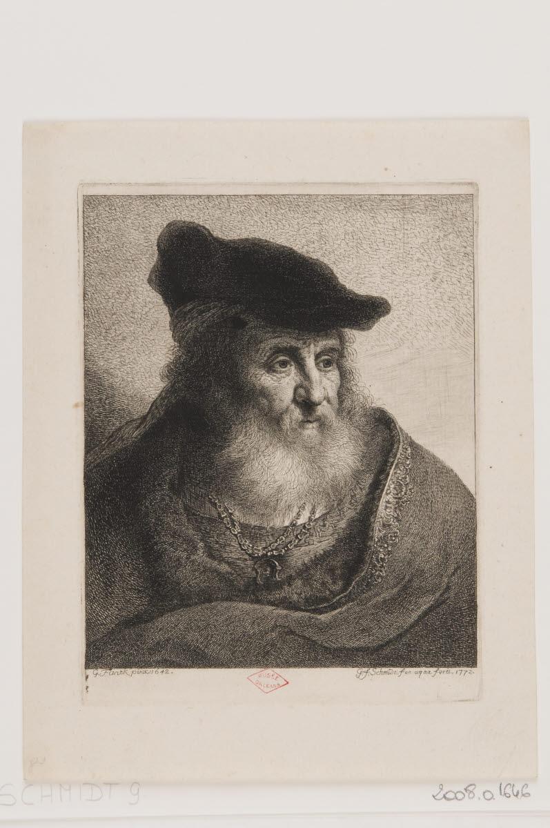 Buste de veillard barbu coiffé d'un béret_0