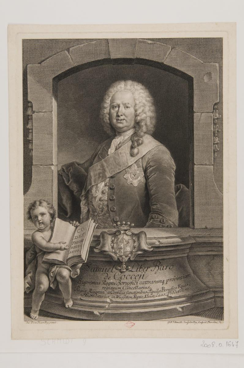 PESNE Antoine (inventeur), SCHMIDT Georg Friedrich (graveur) : Samuel Liber, baron de Cocceji