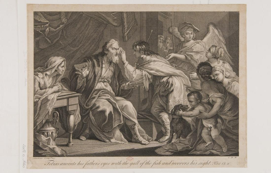 CONTI Sebastiano (inventeur, d'après), DUBOSC Claude (graveur) : Le père de Tobie recouvre la vue
