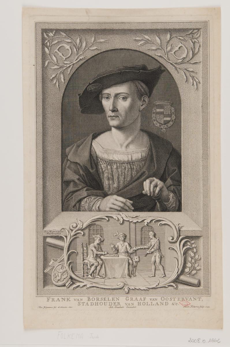 ENSCHEDE Johann (éditeur), FOLKEMA Jakob (graveur), JELGERSMA Tako (dessinateur, inventeur), MOSTAERT Jan (inventeur) : Frank van Borselen, comte d'Oostervant, stadhouder de Hollande