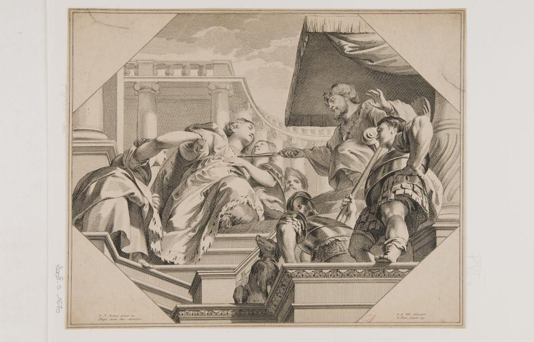 PUNT Jan (graveur), RUBENS Peter Paul (inventeur, d'après), WIT Jacob de (dessinateur) : Esther devant Assuérus