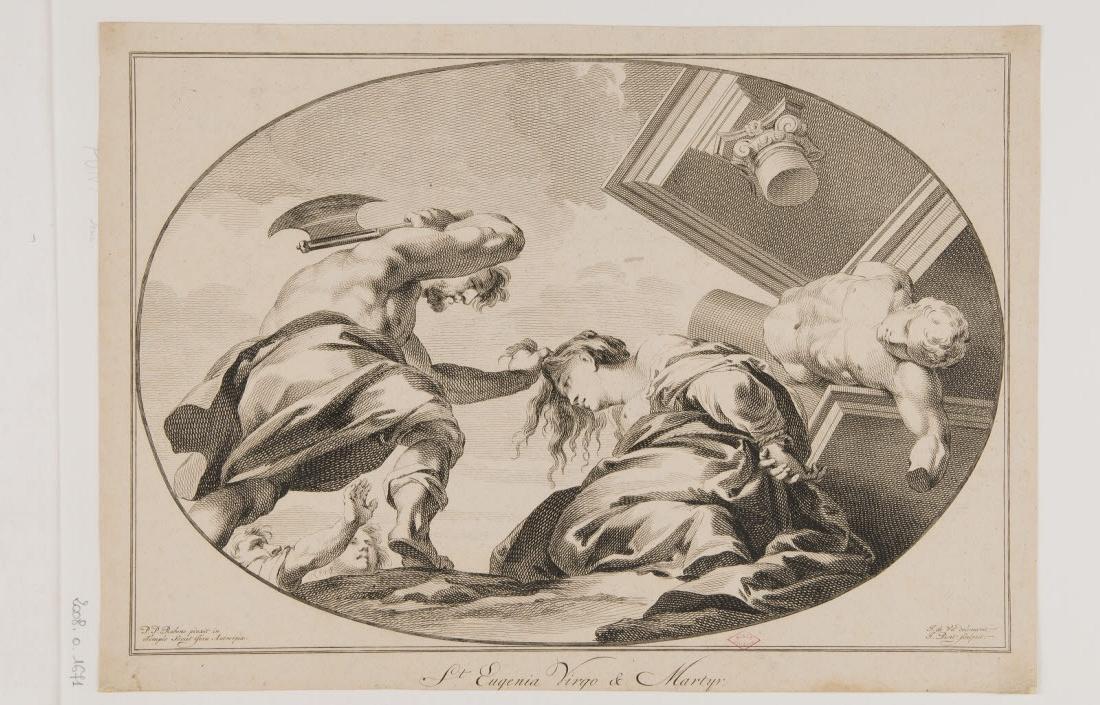 PUNT Jan (graveur), RUBENS Peter Paul (inventeur, d'après), WIT Jacob de (dessinateur) : Sainte Eugénie vierge et martyr
