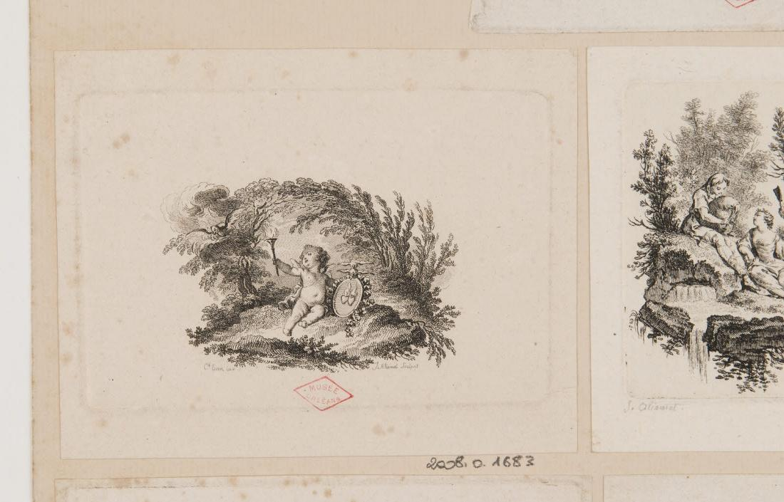 ALIAMET Jacques (graveur), EISEN Charles (inventeur, d'après) : Un putto tenant un flambeau et un cadre où l'on voit deux cœurs enflammés