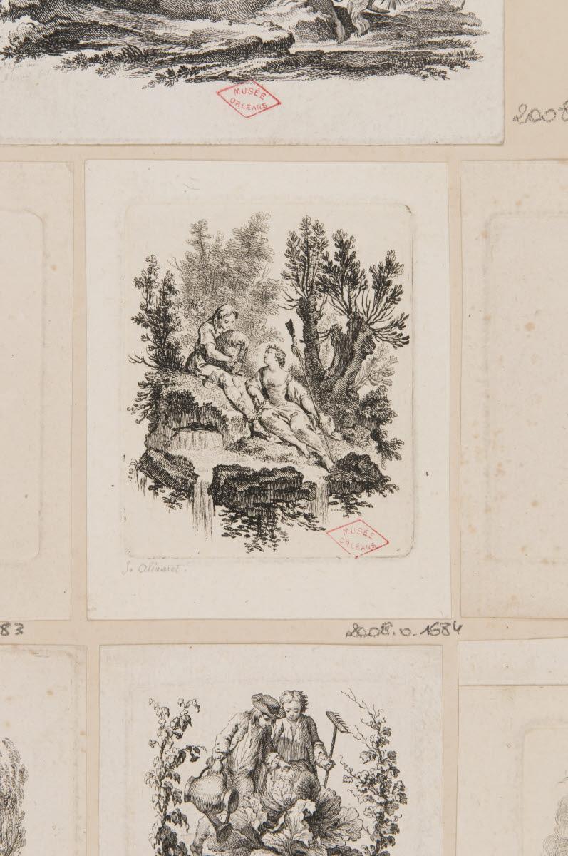 Un berger jouant du biniou et une bergère_0
