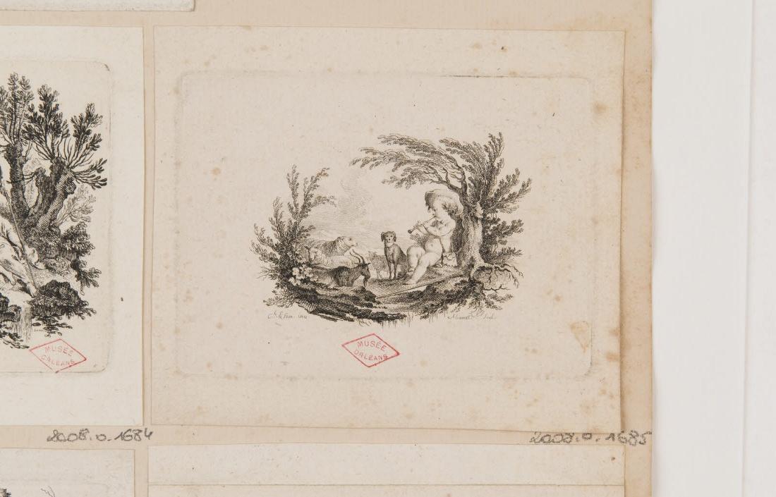 ALIAMET Jacques (graveur), EISEN Charles (inventeur) : Un putto berger jouant du pipot