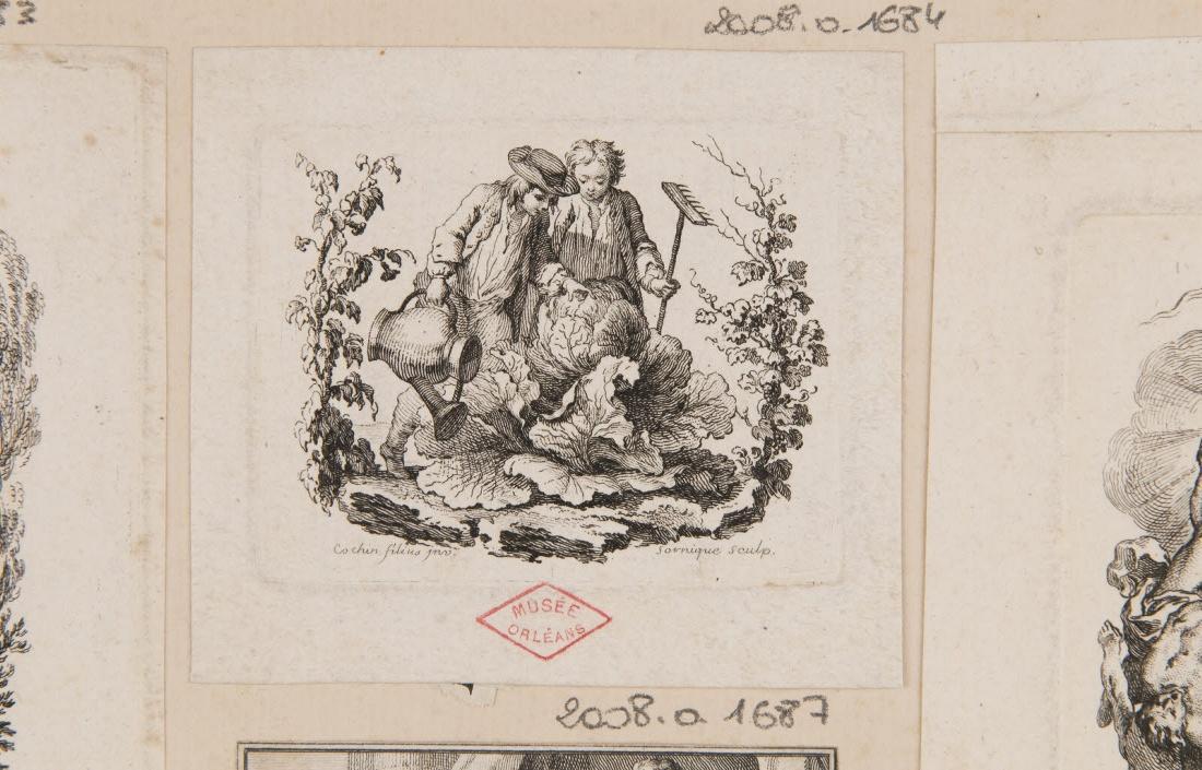 COCHIN Charles Nicolas (inventeur, d'après), SORNIQUE Dominique (graveur) : Deux jardiniers et un chou