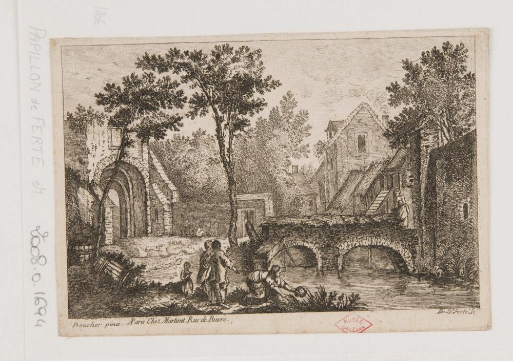 BOUCHER François (inventeur, d'après), MARTINET François Nicolas (éditeur), PAPILLON DE LA FERTE Denis Pierre Jean (graveur) : Paysage au bord d'une rivière avec un pont et une femme puisant de l'eau