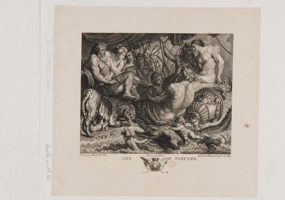 BOREL Antoine (dessinateur), LONGUEIL Joseph de (graveur), VOS Marten de (inventeur, d'après) : Les fleuves