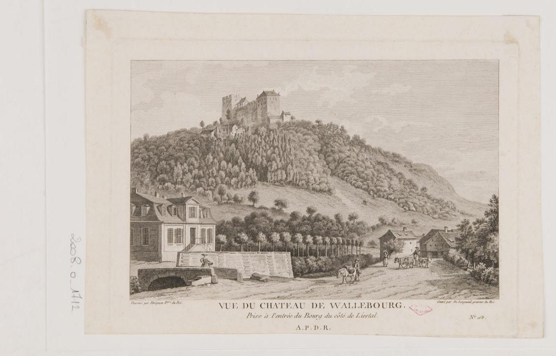 LONGUEIL Joseph de (graveur), PERIGNON Alexis Joseph (inventeur, d'après) : Vue du château de Wallebourg